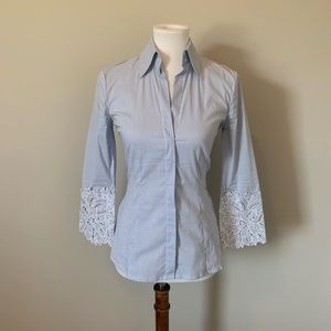 BCBG Button Down with Detailed Sleeves
